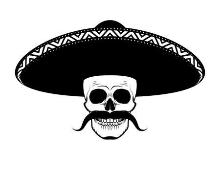 Stencil moustached skull in sombrero black and white
