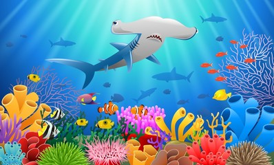 Cartoon shark with Coral Reef Underwater in Ocean. Vector illustration