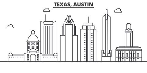 Texas Austin architecture line skyline illustration. Linear vector cityscape with famous landmarks, city sights, design icons. Editable strokes