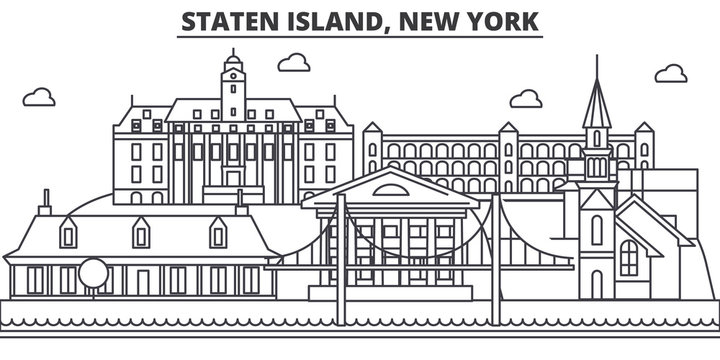 Staten Island, New York architecture line skyline illustration. Linear vector cityscape with famous landmarks, city sights, design icons. Editable strokes