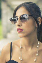 Red lips girl with sunglasses