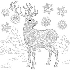 Coloring page of deer (reindeer) and winter snowflakes. Freehand sketch drawing for adult antistress coloring book in zentangle style with doodle elements.