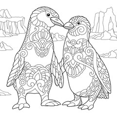 Coloring page of emperor penguins couple in love. Freehand sketch drawing for adult antistress coloring book in zentangle style.