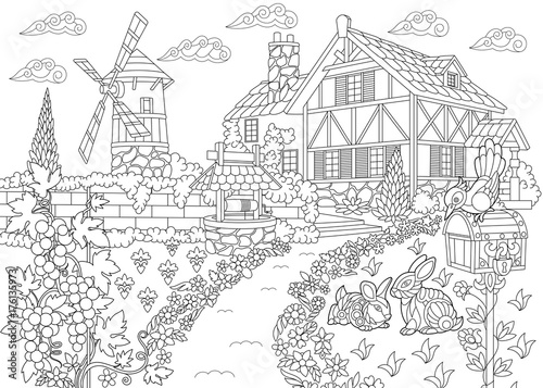 quot Coloring page of rural landscape