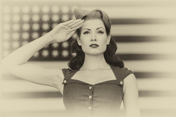 WWII Model Saluting With Pride