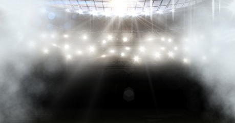 american football stadium with spotlights