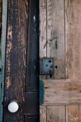 Textures of old wooden doors with ornately carved details