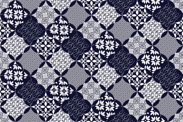Seamless pattern with blue patchwork. Seamless background for textile, wallpaper, pattern fills, covers, surface, print, gift wrap, packaging paper, ceramic tile