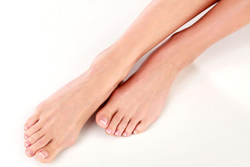 Closeup shot of healthy beautiful female feet