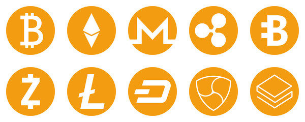 Cryptocurrency icons set for internet money. Blockchain based secure. Vector