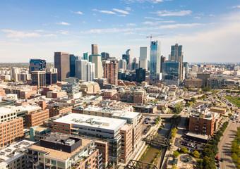 Denver cityscape aerial view