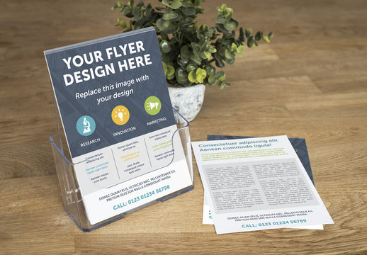 Stack of Flyers on Countertop Mockup 1