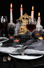 Table setting for Halloween