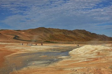 Geothermal area near Reykjahlid, Iceland. Hot steam and boiling mud.