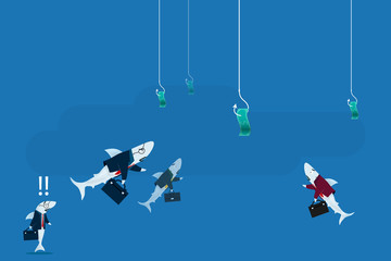 Shark businessman business concept.