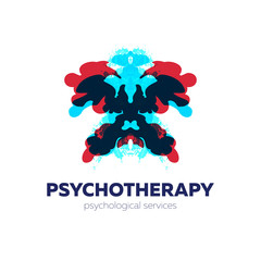 Psychotherapy and psychological services logo. Vector illustration with rorschach test inkblots.