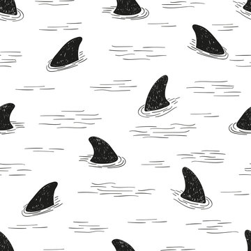 Seamless shark fin pattern. Vector black and white doodle background.