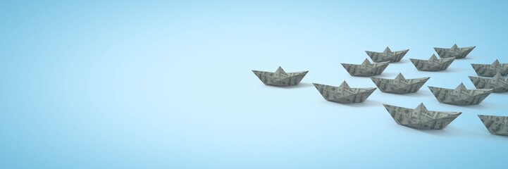 Group of dollar money Paper boats on blue background