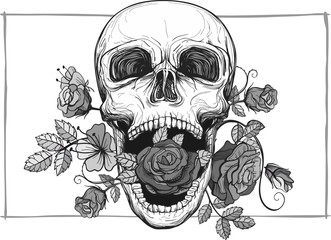 screaming skull with roses