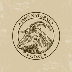 Goat label. Vector illustration.