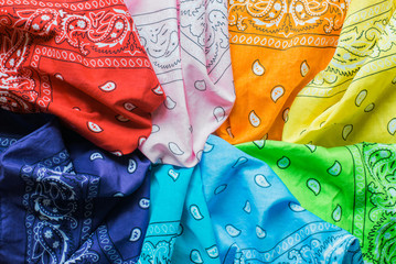 Colorful bandanas.
