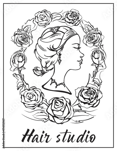 Logo for the beauty salon. Profile elegant girl with lips, curved ...