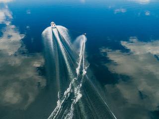 Aerial view of man water skiing on lake