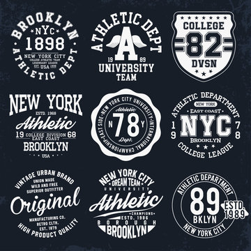 New York, Brooklyn typography, badges set for t-shirt print. Varsity style t-shirt graphics