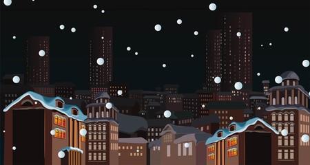 Winter cityscape.City silhouettes.