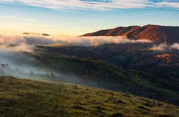 fog rolling over the hills at sunrise. stunning countryside autumnal background