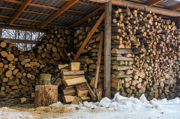 woodshed full of chopped firewood. beautiful scene of everyday rural life in winter. ecological energy concept