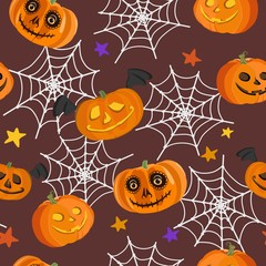 Seamless pattern with pumpkins, spider web and stars. Vector illustration