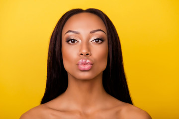 Pampering, lips correction, dermatology, dream, healthcare concept. Cose up cropped photo of afro gorgeous charming brunette with ideal face sending an air kiss, so romantic!