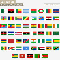National flag of African countries, official vector flags collection.