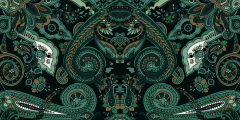 Abstract geometric paisley pattern. Traditional oriental ornament. Vintage jade green colors. Textile design.
