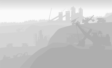 development of coal fields with the help of a giant excavator in the early morning