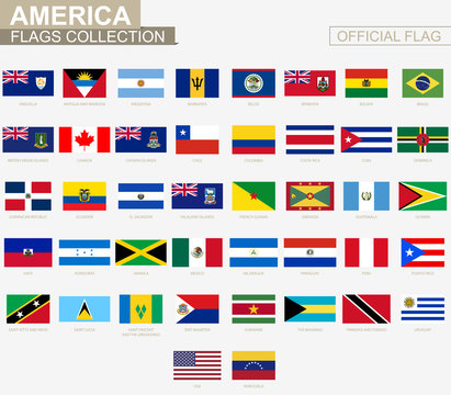 National flag of American countries, official vector flags collection.