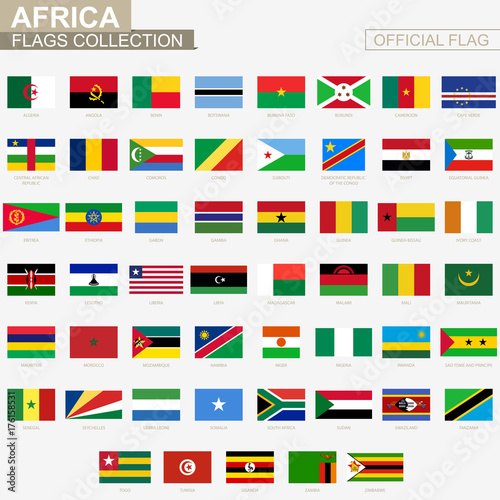 National flag of African countries, official vector flags