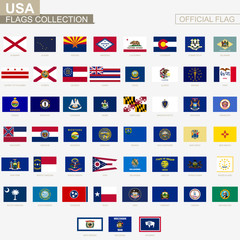 State flags of United States of America, official vector flags collection.