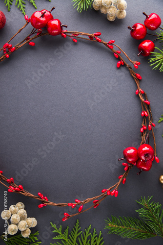 Christmas Top View.Christmas Wreath On Dark Background Top View Merry