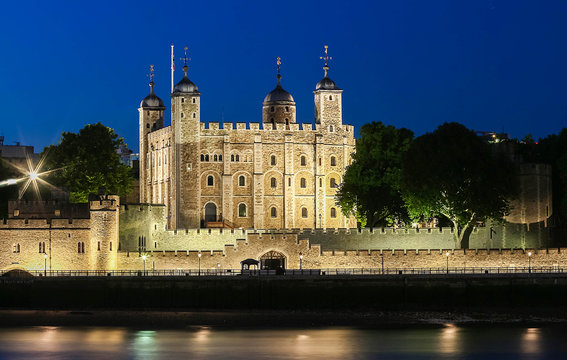 The tower of London at night, United Kingdom.