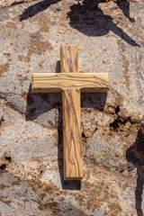 wooden cross on the ground