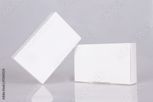 Two Tall White Boxes Mockup Ready For Your Design Box Perspective Template