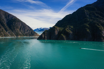 Sightseeing boat sailing Tracy Arm Fjord to Sawyer Glacier, Alaska