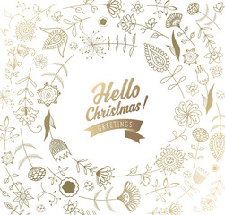 Christmas background with snowflakes, simple Merry Christmas text and flowers - golden version