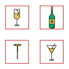 Set of icons includes bottle, glass of wine and martini, corkscrew in flat line minimal design. Vector illustration of alcohol on isolated background.