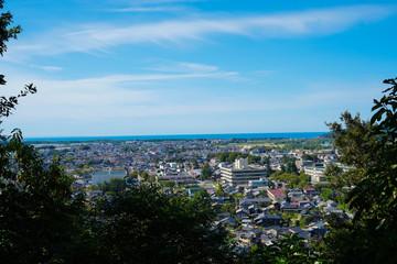 新潟県村上市臥牛山からの眺望