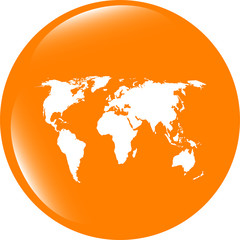 Globe icon, earth world map on web button