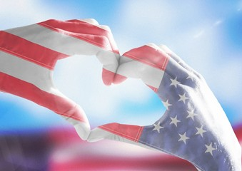 Veterans day, flag usa on hands