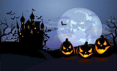 Halloween background with scary pumpkins and Dracula castle
